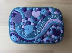 Live Laugh Love Inspirational Gift Tin, Mosaic Clay Art Tin, Gift for Teacher, Storage Tin, Keepsake Gift Box, Pill Stash Box, Upcycled Tin by ColorfulClay on Etsy https://www.etsy.com/listing/534060717/live-laugh-love-inspirational-gift-tin