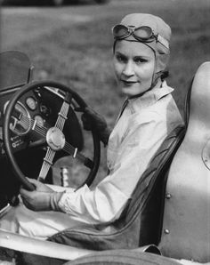 This is American-born driver Kay Petre, she was born Kathleen Coad Defries in 1903 and moved to England with her husband Henry Petre in 1930. Kay took an interest in motor racing after being events held at Brooklands, a circuit that also had an airfield where her husband would often fly.  Henry bought Kay her first car for her birthday – a Wolseley Hornet Daytona Special that she landed on the podium in her first two races.