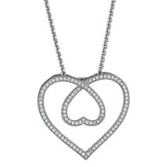 Sterling Silver Micropave CZ Heart Within a Heart Pendant, Women's