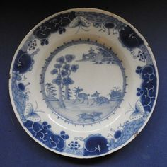 ENGLISH BLUE & WHITE DELFT POTTERY PLATE - PAIR OF DEER - 18TH CENTURY £144