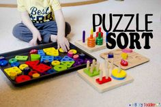 """A problem solving puzzle activity that's a """"mess"""" of fun. Combine multiple puzzles together for toddlers to sort out in a fun puzzle sort. Sick Toddler, Sick Kids, Toddler Play, Indoor Activities For Toddlers, Puzzles For Toddlers, Sorting Activities, Preschool At Home, Toddler Preschool, Preschool Ideas"""
