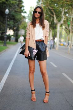 blush blazer, black high-waisted shorts, w/ brown and black accessories. #streetstyle