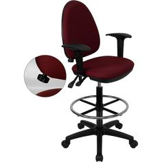 iHome Boswell Mid-Back Burgundy (Red) Fabric Multifunction Professional Drafting Chair w/Adj Lumbar Support & Arms