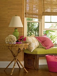 Palm Beach bungalow with grass cloth wallpaper