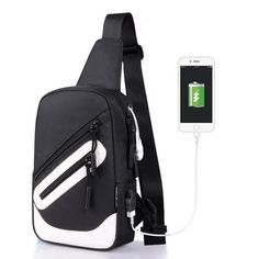 Aelicy USB Design Oxford Men Chest Pack Single Shoulder Strap Back Bag Travel Crossbody Bags for Women Sling Shoulder Bag Back Handbags For Men, Fashion Handbags, Ipad Bag, Cheap Crossbody Bags, Back Bag, Usb, Nylon Bag, Crossbody Shoulder Bag, Bag Sale