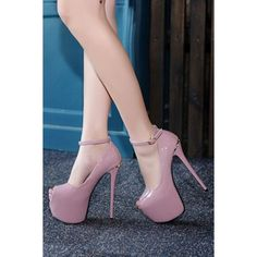 Light Purple Peep Toe Faux Patent Platform Ankle Strap Stiletto High Heel Pumps Patent LeatherStyle: Casual, Simple, StreetOccasion: Carnival, Daily, Date, Eve…