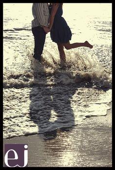 Malibu beach engagement photos, water reflection