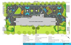 map of a colorful playground with paths and colorful, patterned, open-play spaces