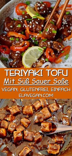 Crispy, salty, sweet and sour sticky Teriyaki Tofu with flavorful ingredients. This comforting Asian weeknight dinner is very tasty and much healthier than take-out! The recipe is vegan, gluten-free, Vegan Dinner Recipes, Whole Food Recipes, Cooking Recipes, Healthy Recipes, Recipes With Tofu Vegan, Asian Food Recipes, Low Fat Vegetarian Recipes, Vegetarian Recipes Tofu, Recipes