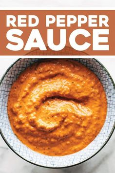Our favorite Roasted Red Pepper Sauce! Top it on eggs, potatoes, sandwiches, pizzas, burgers, salads, bowls, and beyond. YUM. #sauce #vegan #bowl   pinchofyum.com Roasted Red Pepper Sauce, Roasted Red Peppers, Vegetarian Recipes, Cooking Recipes, Healthy Recipes, Healthy Sauces, Vegan Meals, Chutney, Homemade Sauce