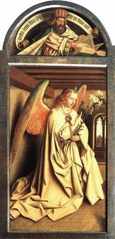 Angel Annunciate, from exterior of left panel of the Ghent Altarpiece - Jan van Eyck