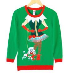 Sassy Elf Longer Length Tunic Style Ugly Christmas Sweater