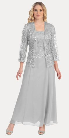Grey Maxi Dress for Wedding Elegant Long Chiffon Silver Mother Of Groom Dress Lace 3 4 Length Mother Of The Bride Dresses Long, Mother Of Bride Outfits, Mothers Dresses, Mother Of Bride Dresses, Long Mothers Dress, Mother Of The Bride Plus Size, Mob Dresses, Tea Length Dresses, Plus Size Dresses