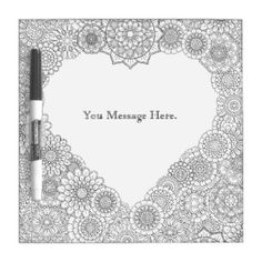 Heart Adult Coloring Dry Erase Board Adultcoloring Mindfulness Home Decor