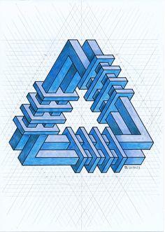 #impossible #isometric #penrosetriangle #escher #oscarreutersvärd #geometry #symmetry #handmade #opticalillusion #mathart #regolo54