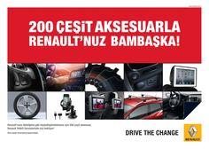 200 Çeşit Aksesuarla Renault'nuz Bambaşka!  Renault'nuzu dilediğiniz gibi kişiselleştirebilmeniz için 200 çeşit aksesuar, Abc Renault Yetkili Servislerinde sizi bekliyor.