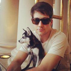Big Time Rush james maslow with his dog fox<3