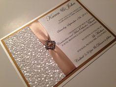 Wedding invitation, elegant wedding invitations, Gold wedding invitations, Offwhite, gold, brooch, textured, embossed