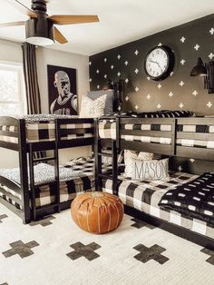 What a cool boys room! 🖤 🤍 We love the patterns in Our Forever Farmhouse's boy's room! From our Erath Area Rug on the floor, to the awesome reverse accent wall, this space is perfect for active boys! ➕ Cool Boys Room, Antique Farmhouse, Modern Farmhouse, Cozy Cottage, Shabby Chic Homes, Home Decor Styles, Bedroom Decor, Bath Decor, Kids Bedroom