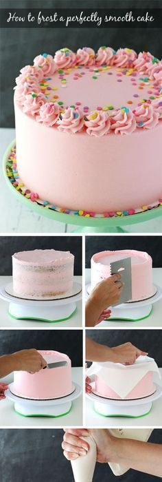 Tutorial for how to frost a perfectly smooth cake with buttercream icing. Images and animated gifs with detailed instructions. Tutorial for how to frost a perfectly smooth cake with buttercream icing. Images and animated gifs with detailed instructions. Frosting Tips, Frosting Recipes, Cake Recipes, Dessert Recipes, Smooth Buttercream Frosting Recipe, Buttercream Icing Cake, Cake Icing Tips, Buttercream Cupcakes, Cupcake Frosting