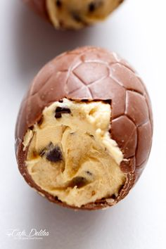 Chocolate Chip Cookie Dough Filled Easter Eggs   http://cafedelites.com