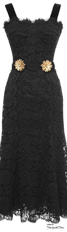 Dolce & Gabbana Fall 2015 Black Cordonetto Lace Dress With Brooch  ♔Très Haute Diva♔