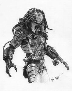 A graphite drawing of the xenomorph 'Alien. I have also done a graphite drawing of the 'Predator' to compliment this. I decided to alter the drawing slightly from the original reference. Alien Vs Predator, Wolf Predator, Predator Alien, Olive Oil Cartoon, Art Dark Souls, Predator Tattoo, Art Alien, Les Aliens, Batman Comic Art