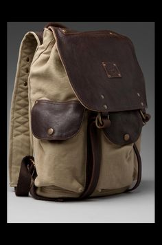 Shop for WILL Leather Goods Lennon Rucksack in Khaki & T. Classic Handbags, Black Handbags, Leather Handbags, Tote Backpack, Leather Backpack, Best Travel Backpack, Estilo Gangster, Mens Canvas Messenger Bag, Sac Week End