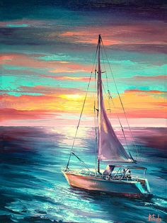 Sailing art original oil painting colorful - My CMS Boat Drawing, Ship Drawing, Sailboat Art, Sailboat Painting, Kitesurfing, Sailing Tattoo, Boat Illustration, Sailing Outfit, Seascape Paintings