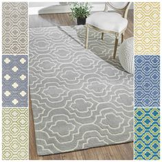 Bring style and elegance into your room setting with this wool rug. This rug is handmade with 100 percent wool and features a durable and plush pile suitable for high traffic areas.