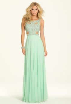 Prom dress • Square neckline • Heavily beaded cut-out bodice • Pleated full skirt • Center back zipper placement