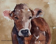 nursery art PRINT boy cow painting folk art painting folk art cow painting animal painting watercolor brown cow PRINT sepia wall decor 11x14...