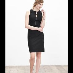 Black Sloan-Fit Cutout Sheath !   Gorgeous !! Expert tailoring combines with our Signature Sloan contour stretch fabric to instantly refine and sculpt your figure ! Whew ! Crew neck ! Sleeveless ! Front cutout-styling ! Invisible back zip ! Black dress has faux leather trim ! A winner !  Banana Republic Dresses