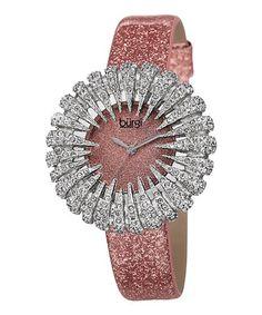 Love this Rose & Silver Flower Crystal Watch by Bürgi on #zulily! #zulilyfinds