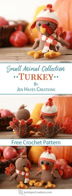Tom and Penny are the newest members of the Small Animal Collection. Watch your crochet skills grow as you work through creating these adorable turkey friends. They'd love to be invited to dinner just not to be dinner. Crochet Birds, Crochet Fall, Holiday Crochet, Crochet Animals, Crochet Crafts, Crochet Toys, Free Crochet, Crochet Projects, Crochet Ideas