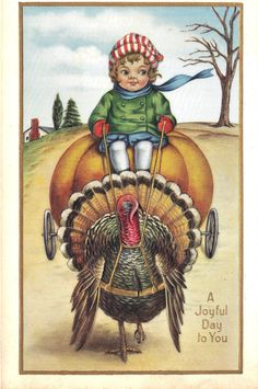 Adorable child riding turkey: Thanksgiving Antique postcard Whitney by heritagepostcards, $4.75 #vintage #postcards #forsale