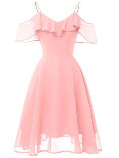 Women's Flowy Strapless Shoulder Chiffon Dress LaceShe Women Flowy Trägerloses Schulter-Chiffon-Kleid Cute Prom Dresses, Pretty Dresses, Homecoming Dresses, Beautiful Dresses, Short Dresses, Summer Dresses, Short Chiffon Dress, Maxi Dresses, Chiffon Dresses