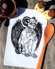 Kitchen Towel - Gothic Gargoyle Towel - Coffee Towel - Flour Sack Cotton - Hand Towel Dish Towel - Halloween Decor - Goth - Coffee Lover Dish Towels, Hand Towels, Tea Towels, Gothic Gargoyles, Flour Sack Towels, Hand Illustration, Hand Designs, Kitchen Towels, Hostess Gifts