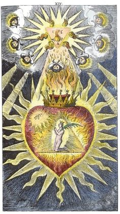 Hermetic Studies series 8. No. 8. The Mystical Heart Emblems of Paul Kaym and Nicolas Häublin A coloured version by Adam McLean with a descriptive commentary. The book Helleleuchtender Hertzens-Spiegel was printed in 1680.