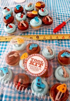 Happy Fathers Day Tool Kit!: One dozen mini vanilla and chocolate cupcakes adorned with our favorite handy edible tools and vanilla and chocolate buttercream.
