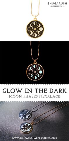 Shugarush Accessories Moon Phase Necklace that Glows in the Dark! Long Chain Necklace, Cute Necklace, Moon Necklace, Star Necklace, Dainty Necklace, Moon Phase Jewelry, Moon Jewelry, Cute Jewelry, Unique Jewelry