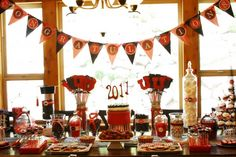 Many clever ideas for a Red and Black Grad Party color scheme.  Be sure to scroll through these inspiring photos!