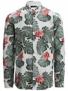 SHHAWAIIAN - FLORAL PRINTED - SLIM FIT LONG SLEEVED SHIRT, White