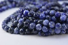 sodalite. round, 8mm, blue, stone bead, gemstone, stone bead, beading, diy, semiprecious, gem, bead, spacer bead, jewelry bead