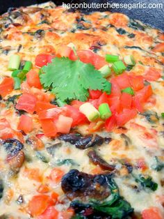Queso Flameado, which means flamed cheese, is filled with peppers, spinach, mushrooms and tomatoes.  Serve with tortilla chips!