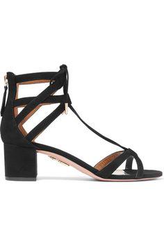 Aquazzura - Beverly Hills Suede Sandals - Black - IT37