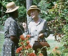 Isabelle Lucas as Aunty Johnson and Joan Hickson as Miss Marple in 'A Caribbean Mystery'. 1989.