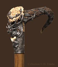Canne de grande vénerie - trophée de chasse XIXè. siècle - Argent & rubis - http://danieltraube.skynetblogs.be/