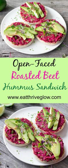 Open-Faced Roasted Beet Hummus Sandwich recipe. Toasted English muffins topped with hummus and avocado.