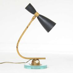 Anonymous; Brass, Glass and Enameled Aluminum Table Lamp by Gilardi & Barzaghi, 1953.